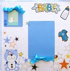 Baby Boy Scrapbook Page Premade. - Baby Boy 12x12 scrapbook page in protective sleeve is ready for your photo - Designed from patterned papers, markers, buttons, die cut stickers, and ribbon - Acid free materials for longevity - Handmade in USA - Free shipping and sturdy protective packaging - Please contact artisan if you wish to request scrapbook pages in a theme of your choice at no extra charge This layout with tiny dotted mats, bows, buttons, and teddy bear will compliment the photo…