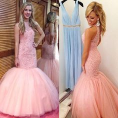 Navy Beaded Halter Mermaid Evening Prom Dresses, 2017 Long Blush Pink Party Prom Dress, Custom Long Prom Dresses, Cheap Formal Prom Dresses, 17074