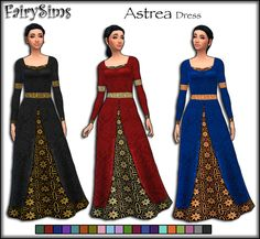 "fairysimsmedievalcreations: ""Astrea Dress for Medieval Ladies • Teen - Elder • Available in 20 Swatches • Disabled for Random • Mesh need by @kiarazurk here Download (OneDrive) """