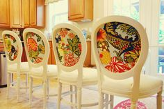 Love the surprise fabric on the back of these chairs! So much fun!    (Honey & Fitz blog)