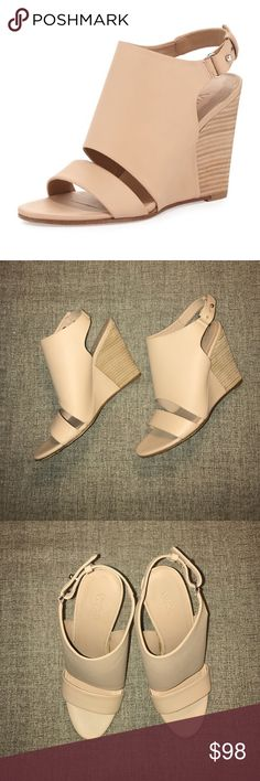 ⭐️HP⭐️ New Vince sz 8.5 tan leather wedge sandal New without box Vince sz 8.5 Karen tan leather wedge sandal. Vince Shoes Wedges