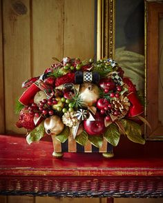 Gala Centerpiece by MacKenzie-Childs at Horchow. I can see how lovely it is on my dinning table this holiday. Christmas Arrangements, Christmas Centerpieces, Christmas Decorations, Holiday Decor, Centerpiece Ideas, All Things Christmas, White Christmas, Christmas Buffet, Victorian Christmas