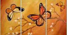 Butterflies on orange background