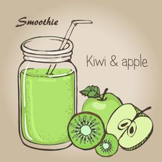 Smoothie fruits drink vector sketch material 01