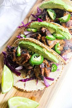 Say hola to these flavorful Pineapple Lime Chicken Tacos! Cabbage Salsa, Red Cabbage, Lime Chicken Tacos, Taco Tuesday, Tostadas, Menu Planning, Food Dishes, Guacamole, Pineapple