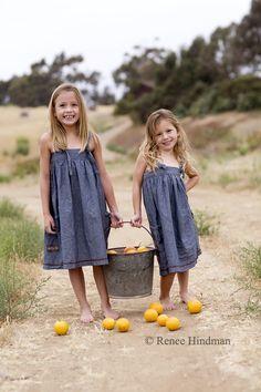 Bucket of oranges or lemons Sibling photo shoot