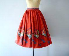 1950s novelty print skirt . vintage 50s by BlueFennel on Etsy