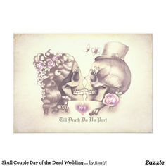 Skull Couple Day of the Dead Wedding Invitations