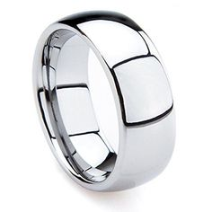 8mm Tungsten Metal (5/16 in) High Polished Comfort Fit Domed Wedding Band Ring