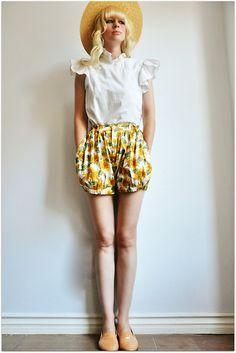 Coury Combs - Vintage Sunflower Shorts, Vintage Flutter Blouse - Hang on, Summer! Summer, hang on!