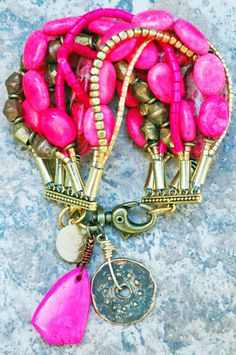 Exotic Pink Turquoise and Gold Multi-Strand Cuff Bracelet