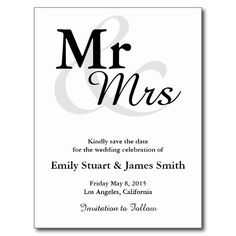 Mr&Mrs Wedding Save the Date Postcard