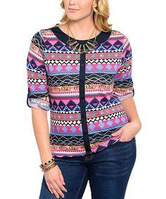 Black & Fuchsia Stripe Cardigan - Plus by 24/7 Frenzy #zulily #zulilyfinds