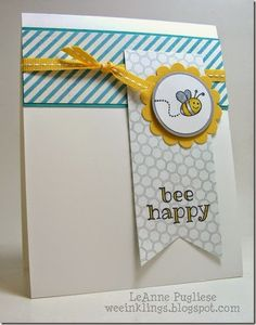 Colors are Bermuda Bay, Daffodil Delight, Smoky Slate. honeycomb DSP fits w the bee theme. Use as baby cards Bee Cards, Stampin Up Catalog, Handmade Birthday Cards, Watercolor Cards, Card Sketches, Kids Cards, Creative Cards, Scrapbook Cards, Homemade Cards