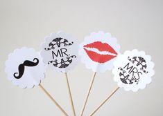 12 Wedding Mr. & Mrs. Party Picks Mustache Lips by BelowBlink