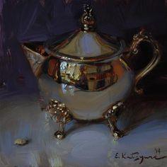 "Daily Paintworks - ""Silver on Purple"" by Elena Katsyura"