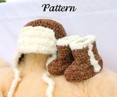 Baby aviator hat and boots PDF crochet pattern months brown white newborn infant booties flying beanie pilot headwear photography prop Crochet Beanie Hat, Crochet Baby Booties, Beanie Hats, Crochet Hats, Aviator Hat, Afghan Blanket, Blanket Crochet, Cool Hats, Cute Crochet