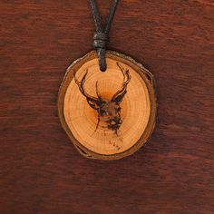 Hirsch - Ketten Holzschmuck aus Naturholz / Anhänger Earrings, Accessories, Jewelry, Pendant, Chains, Handmade, Wristlets, Ear Rings, Stud Earrings