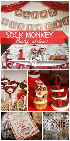 This 1st birthday party for a little boy features cute sock monkeys!  See more party ideas at CatchMyParty.com!
