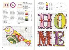 home and bird cross stitch alphabet