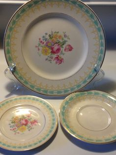 Syracuse Betsy Ross Old Ivory Turquoise Dinner Plate Bread & Roscher u0026 Co Hobnail Collection | Dinnerware - I am a dishaholic ...