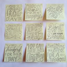 Spreading Inspiration Post-it Project by Roxy Prima - Lettering Tipps & Tricks - Typography Creative Lettering, Brush Lettering, Lettering Design, Calligraphy Letters, Typography Letters, Calligraphy Handwriting, Penmanship, Notes Handwriting, Typography Quotes