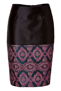 Pencil Skirt with Brocade Paneling Pink/Blue by PRABAL GURUNG