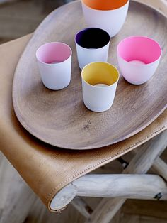 pops of colour against the natural timber and leather is gorgeous!