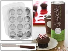 16.2-oz. Chocolate Peppermint Cupcake Mix with Carrier and Offset Spatula by Sprinkles Cupcakes at Cooking.com