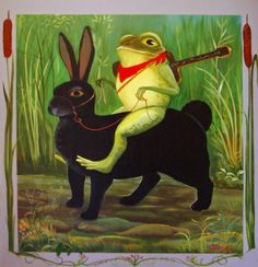 A frog and his rabbit. Frosch Illustration, Illustration Art, Frog Pictures, Frog Pics, Funny Frogs, Frog Art, Bagdad, Frog And Toad, Whimsical Art