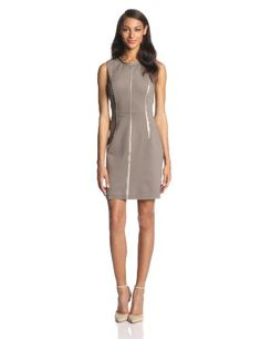 The Jocelyn is the perfect ponte shift dress updated with faux leather trim for a bit of edge. #Fashion  #Amazon