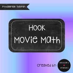 Who says movies can't be used in math?!?Use Movie Math at the end of the year, on sub days, days when your students have earned a reward, or when you just need a little break with no planning!  Questions help keep students responsible and on task.Eight Hook themed questions on Pythagorean Theorem.Topics Include:- Solving for a leg.-Solving for the hypotenuse.- Determining if 3 sides would make a right triangle.-Some answers are perfect squares and some will need a calculator to round to the…
