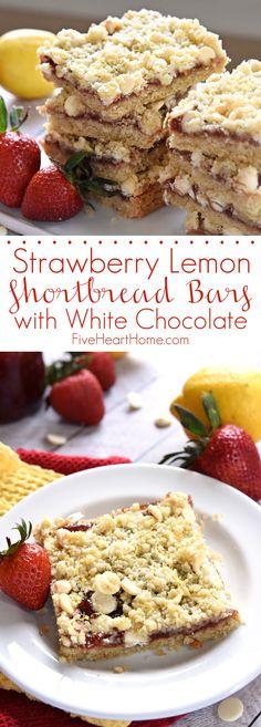 Strawberry Lemon Shortbread Bars with White Chocolate
