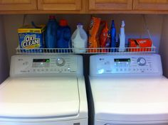 Organizing the Laundry Area!!! Thanks, Pinterest for showing me a good idea. Upside down shelf to hold laundry stuff!