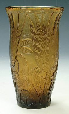 "A MOSER ART DECO CAMEO GLASS VASE, circa 1925, in topaz glass with deep etched stylized flowers, etched ""Moser M.M."""