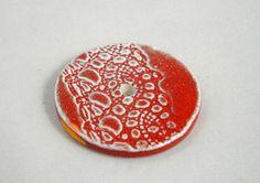"""Perle forme """"donut"""" artisanale en faïence, motif aux engobes (terres colorées). Elle est modelée et émaillée par mes soins, dans mon atelier. Toutes les perles """"lili pamplemou - 9128628"""