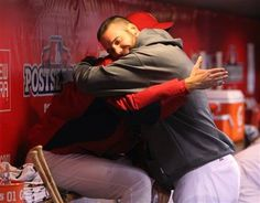 Game 4 of the NLCS- Carp showing some love for Waino after he was taken out of the game.  I <3 <3 <3 this pic  10-18-12