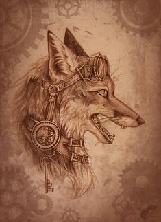 Steampunk-fox by GreenAmb.deviantart.com on @deviantART