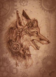 Dessin, tatouage, renard, steampunk, encrenages, lunettes, clef, encre noire