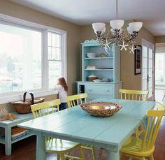 Sea blue furniture coastal style dining room design