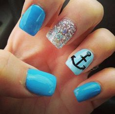 anchor nail art - 60 Cute Anchor Nail Designs