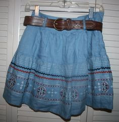 LN Max Rave Denim Belted Western/Indian Embroidery Trim Boho Mini Skirt~sz S  #MaxRave #FullSkirt