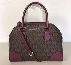 NWT Michael KorsHattie Brown plum PVC Bowling Bag Handbag NEW #MichaelKors #TotesShoppers