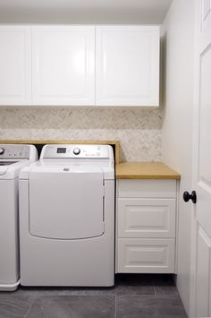 How to make a shelf & counter for your laundry room (now nothing can fall behind)