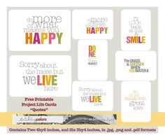 "Free Project Life ""Quotes"" 3by4 and 4by6 cards @smithakatti"