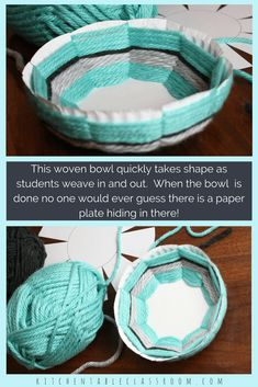 Woven Bowl- A DIY with Free Printable Template – The Kitchen Table Classroom Create this woven bowl using the free printable template, a paper plate, & yarn. This is a great elementary / middle school art lesson to introduce weaving. Middle School Crafts, Middle School Art Projects, Projects For Kids, Easy Art Projects, Weaving For Kids, Weaving Art, Easy Yarn Crafts, Crafts For Seniors, Weaving Projects