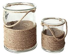 CC Home Furnishings Set of 2 Seaside Treasures Glass Hurricane Pillar Candle Holders with Rope Accents Pillar Candle Holders, Pillar Candles, Jar Candle, Glass Holders, Seashell Candles, Baker Beach, Chandeliers, Ideias Diy, Candle Centerpieces