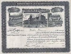 Sutherland Land & Improvement Co. 20 shares à 100 $ 22.1.1894.