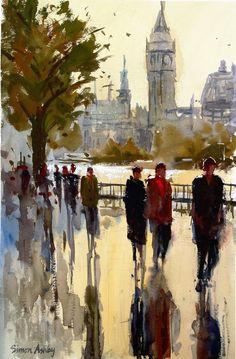 Westminster Reflections, 12 x Watercolour Westminster, Contemporary Paintings, Watercolour, Reflection, 18th, France, People, Pen And Wash, Watercolor Painting