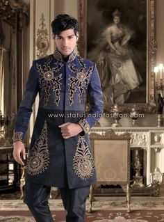 Sherwani Indowestern, Designer Groom Wear, Stylish Indowestern, Men's Indian Wear www.statusindiafashion.com